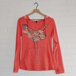 Free People Coral Hooded Lotus Top Large 0092